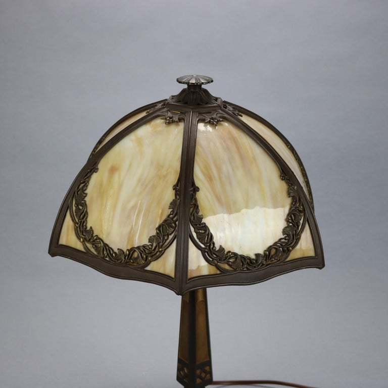 Antique Bradley & Hubbard Arts & Crafts Slag Glass Table Lamp, Circa 1920 In Good Condition For Sale In Big Flats, NY