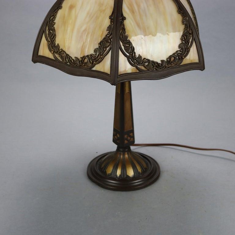 20th Century Antique Bradley & Hubbard Arts & Crafts Slag Glass Table Lamp, Circa 1920 For Sale
