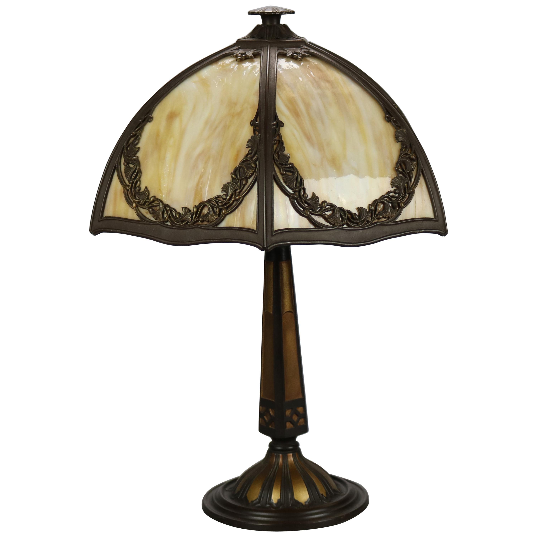 Antique Bradley & Hubbard Arts & Crafts Slag Glass Table Lamp, Circa 1920