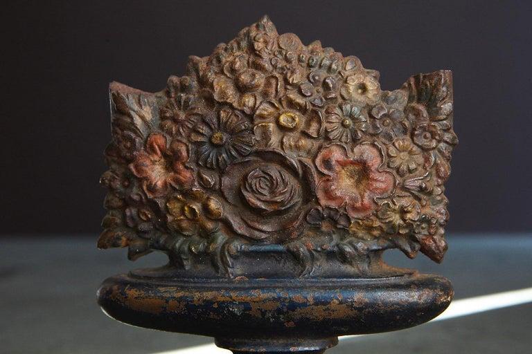 Antique Bradley & Hubbard Cast Iron Polychrome Flower Basket Doorstop  For Sale 4