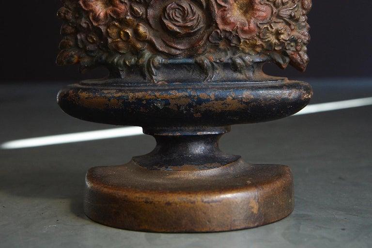 Antique Bradley & Hubbard Cast Iron Polychrome Flower Basket Doorstop  For Sale 2