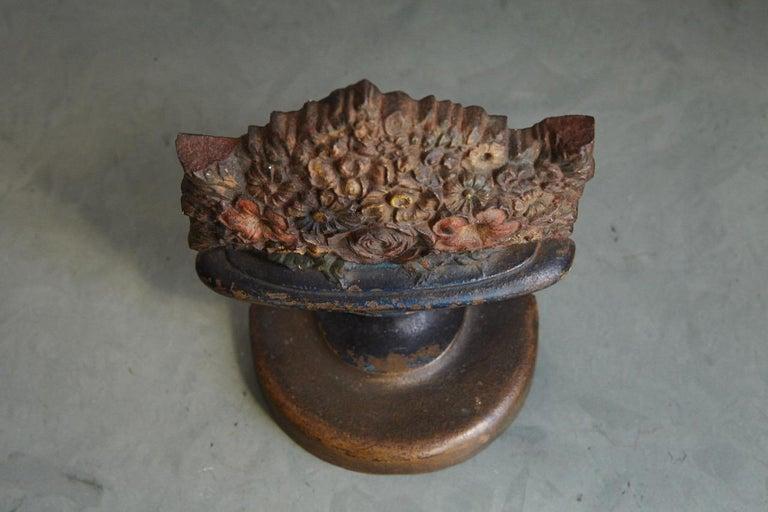 Antique Bradley & Hubbard Cast Iron Polychrome Flower Basket Doorstop  For Sale 3