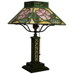 Antique Bradley & Hubbard Floral Murano Glass Shade Table Lamp, circa 1920