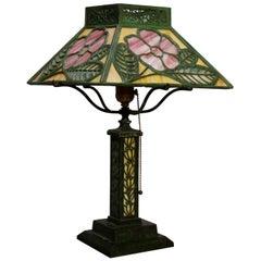 Antique Bradley & Hubbard Floral Murano Glass Shade Table Lamp, circa 1920