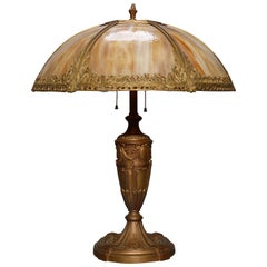 Antique Bradley & Hubbard School Arts & Crafts Slag Glass Lamp, circa 1920