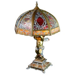 Antique Bradley & Hubbard School Figural Cherub Slag Glass Lamp, circa 1920