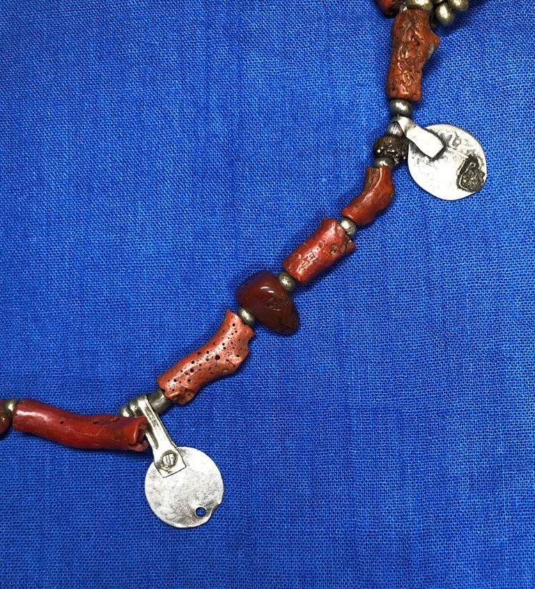 Antique Branch Coral Necklace, Handmade Multi-Strand, Silver Coins Morocco For Sale 6