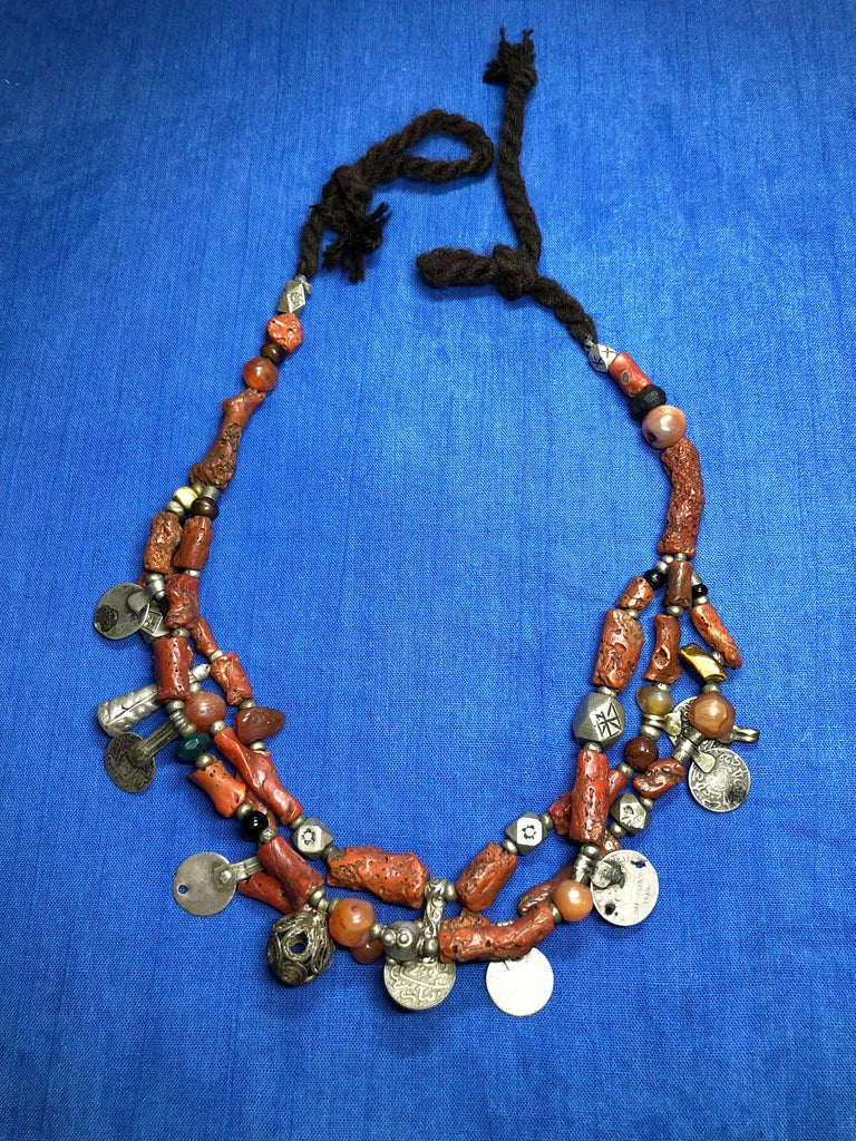 Tribal Antique Branch Coral Necklace, Handmade Multi-Strand, Silver Coins Morocco For Sale