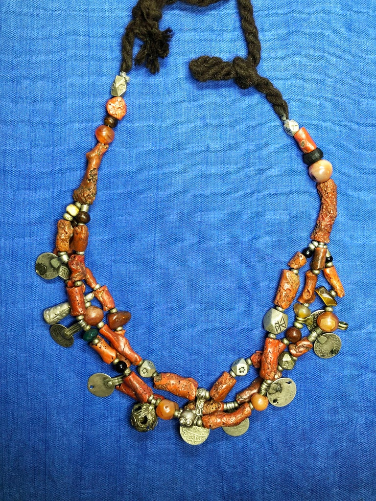 Moroccan Antique Branch Coral Necklace, Handmade Multi-Strand, Silver Coins Morocco For Sale