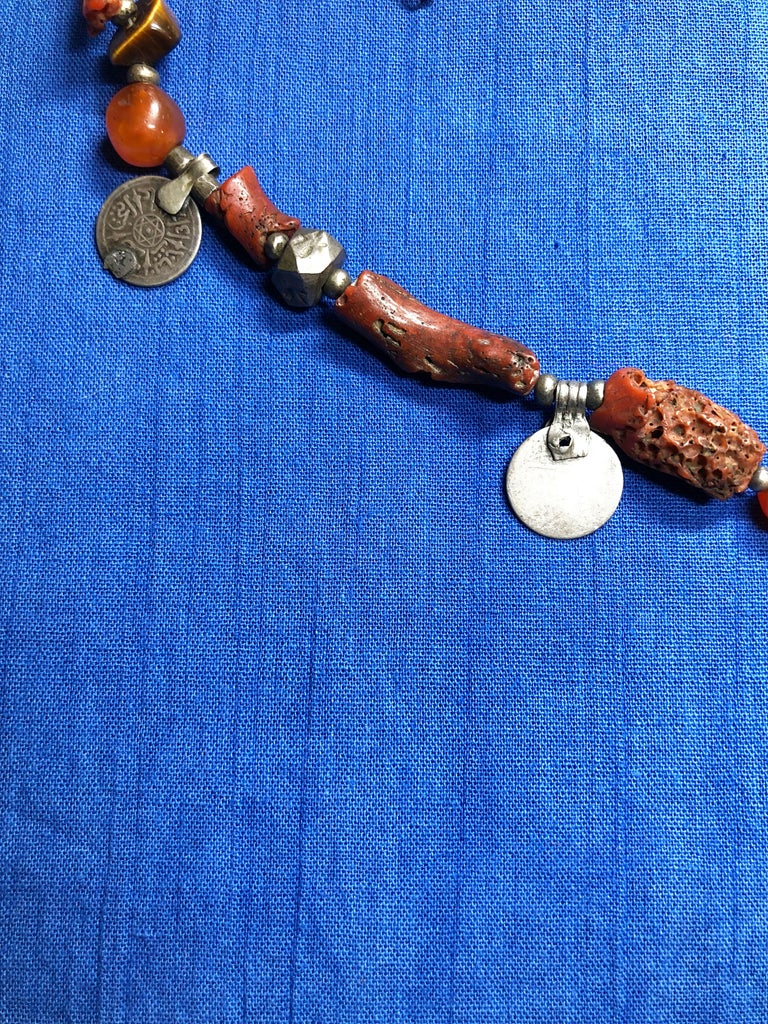 Antique Branch Coral Necklace, Handmade Multi-Strand, Silver Coins Morocco In Good Condition For Sale In Vineyard Haven, MA