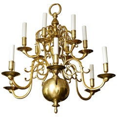 Antique Brass 12-Light Scrolled Arm Chandelier with Large Lower Ball, circa 1850