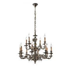 Antique Brass 18-Light Chandelier