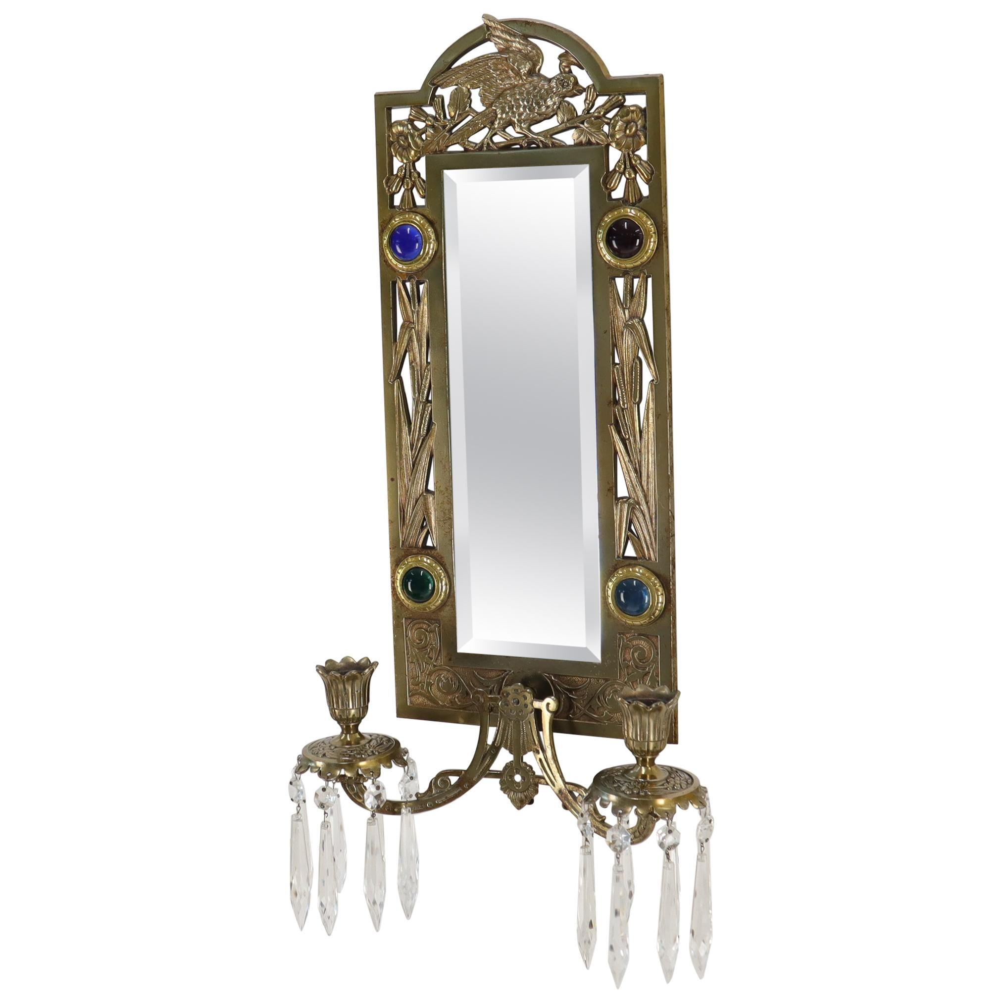 Antique Brass 2 Candle Mirror Jewel Decorated Wall Sconce 16 Prisms, circa 1875