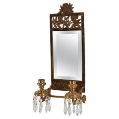 Antique Brass 2 Candle Mirror Wall Sconce 16 Crystal Prisms, 1875