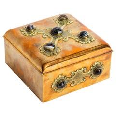 Antique Brass and Agate Gaming Box Edinburgh, 19th Century