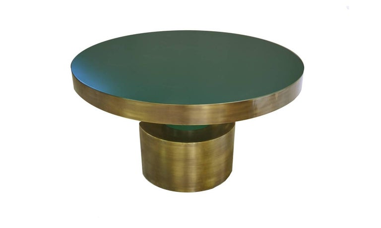 European Antique Brass and Emerald Green Lacquered Wood Dining Table Rio For Sale