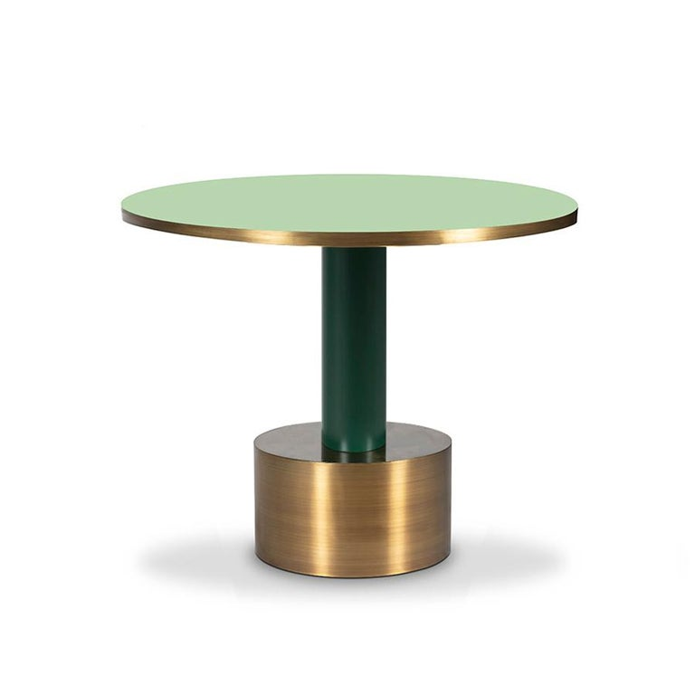 Hollywood Regency Antique Brass and Emerald Green Lacquered Wood Side Table Rio For Sale