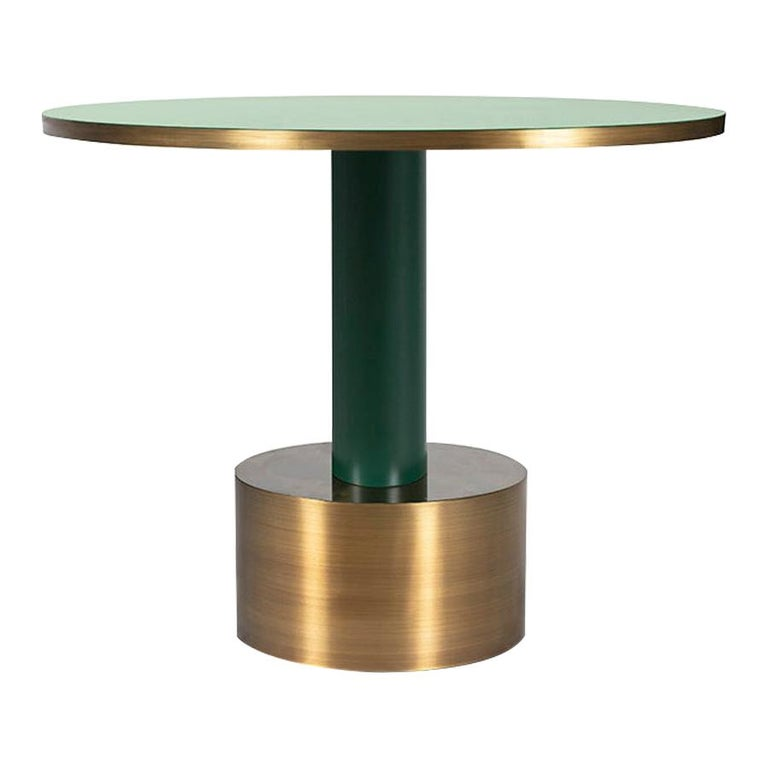 European Antique Brass and Emerald Green Lacquered Wood Side Table Rio For Sale