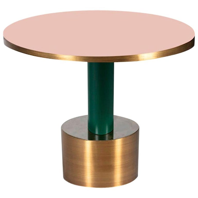 Antique Brass and Emerald Green Lacquered Wood Side Table Rio For Sale