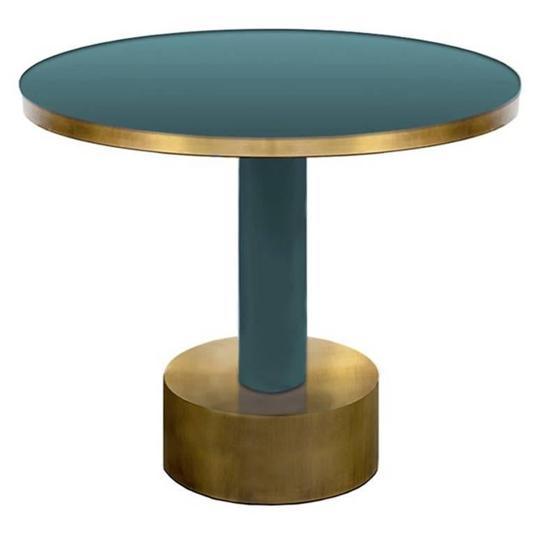 Antique Brass and Emerald Green Lacquered Wood Side Table Rio