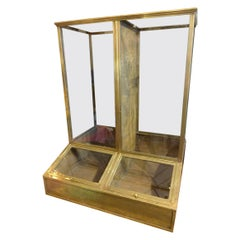 Antique Brass and Glass Coffee Display Case, France