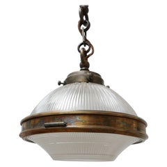 Antique Brass and Glass Holophane Pendant Light