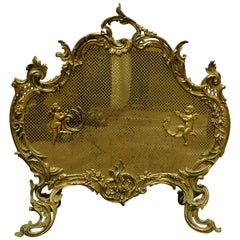 Antique Brass Arrester for Fireplace with Wire Mesh and Putti, France, 1800