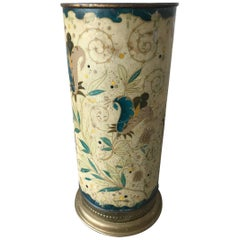 Antique Brass Arts & Crafts Umbrella Stand with Colorful Decor of Flowers
