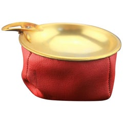 Antique Brass Ashtray with Red Leather Case