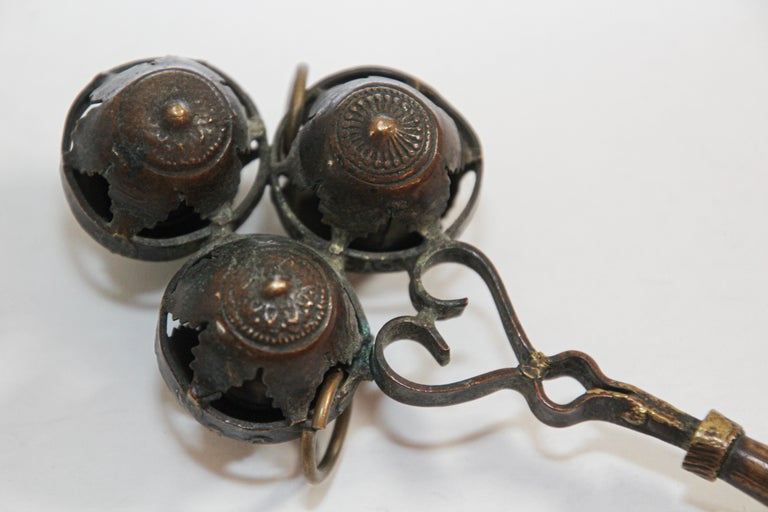 Hand-Crafted Antique Brass Baby Rattle Whistle Bell Dangles, India For Sale