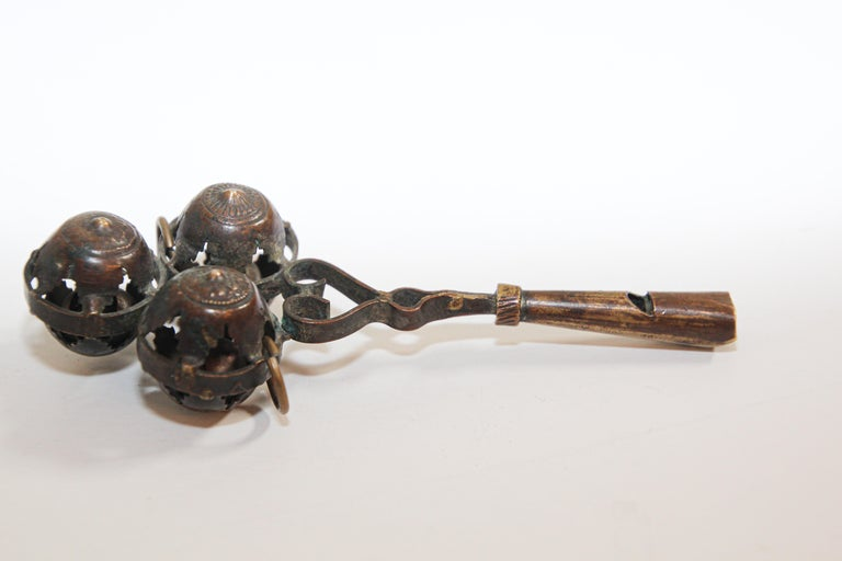 Antique Brass Baby Rattle Whistle Bell Dangles, India For Sale 2