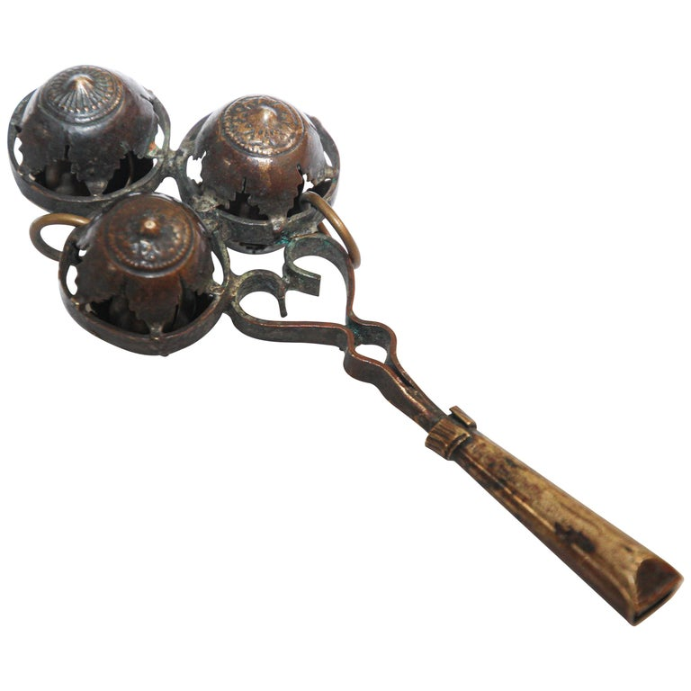 Antique Brass Baby Rattle Whistle Bell Dangles, India For Sale