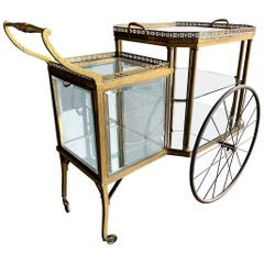 Antique Brass Bar Carriage/ Tea Trolley/ Table Trolley, Glass Case from a Castle