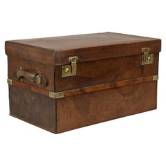 Antique Brass Bound, Leather Travelling Trunk by Webb & Bryant