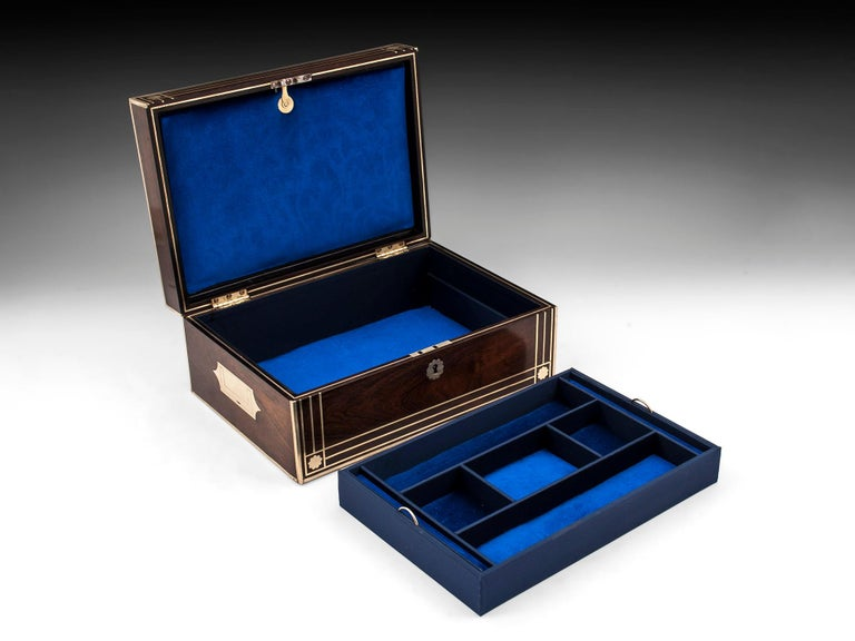 Antique Brass Bound Mahogany Jewelry Box, 19th Century For Sale 6