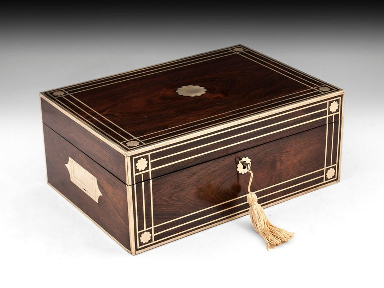 Antique Brass Bound Mahogany Jewelry Box, 19th Century For Sale 8
