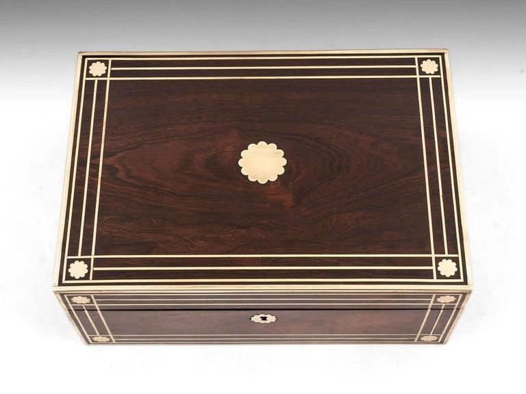 British Antique Brass Bound Mahogany Jewelry Box, 19th Century For Sale