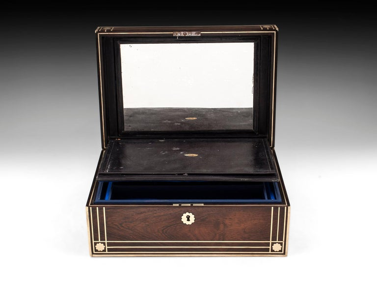 Antique Brass Bound Mahogany Jewelry Box, 19th Century In Good Condition For Sale In Northampton, United Kingdom