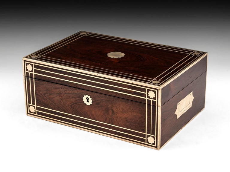 Antique Brass Bound Mahogany Jewelry Box, 19th Century For Sale 2