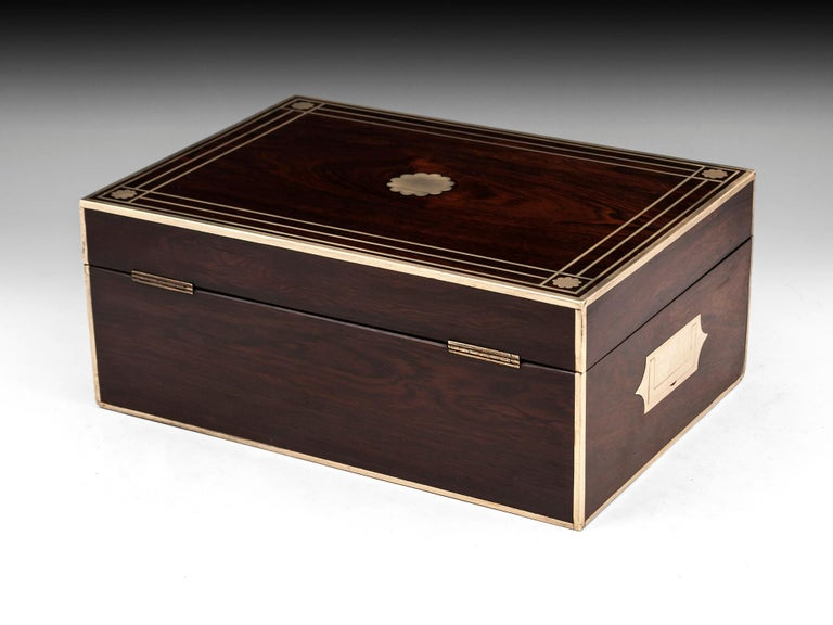 Antique Brass Bound Mahogany Jewelry Box, 19th Century For Sale 3