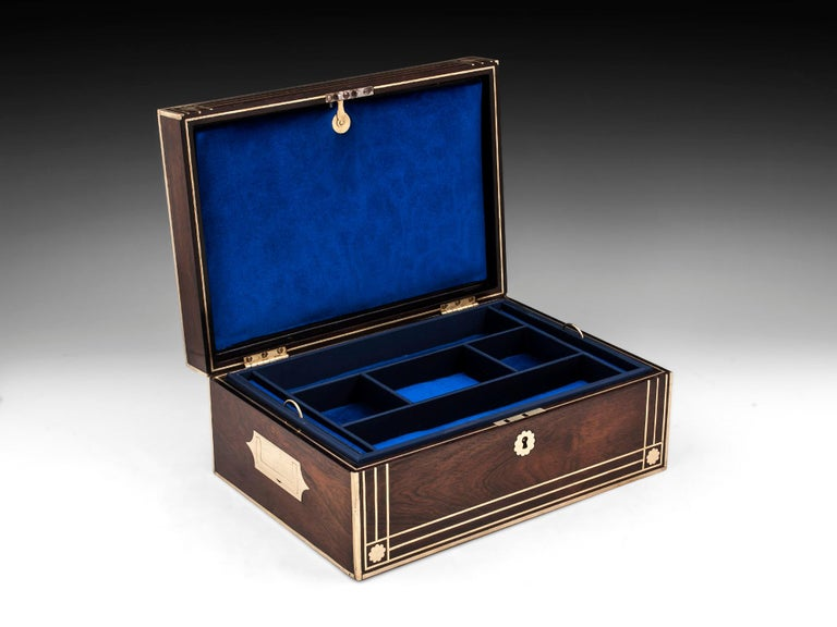 Antique Brass Bound Mahogany Jewelry Box, 19th Century For Sale 5