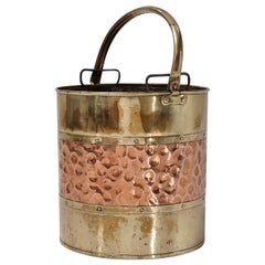 Antique Brass Bucket/Bin 'Coal Scuttle' with Copper Banding, circa 1900s English