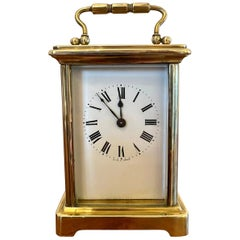 Antique Brass Carriage Clock with Travelling Case