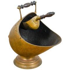 Antique Brass Coal Bucket and Shovel, 20th Century