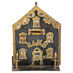 Antique Brass House Coin Bank