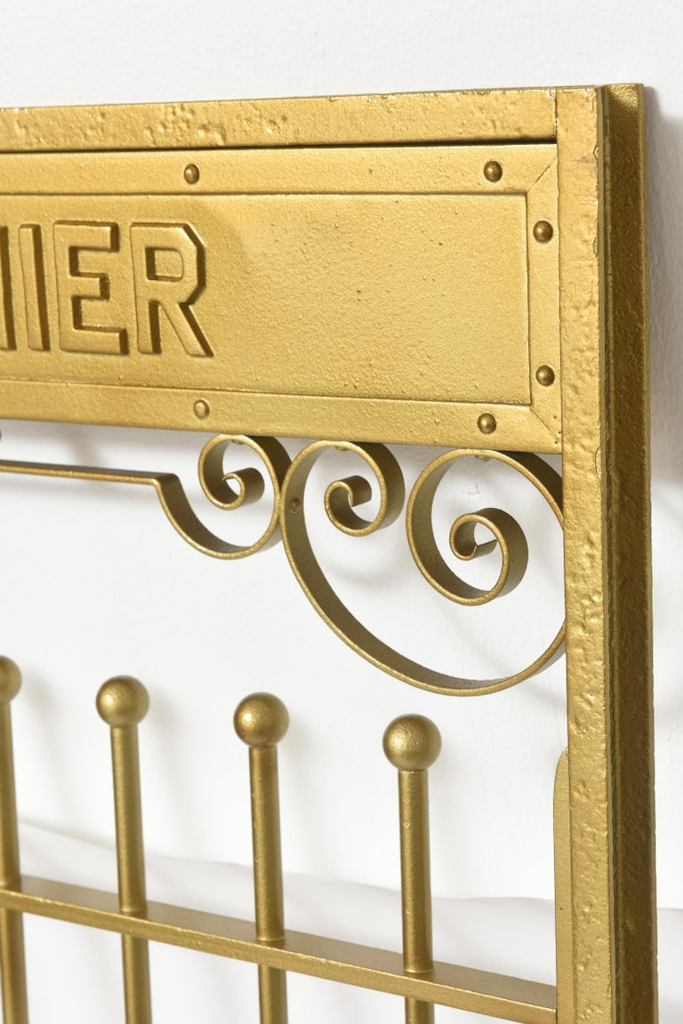 Antique Brass Finish on Iron Cashier Bank Teller or Post Office Cage Window In Good Condition For Sale In Miami Beach, FL