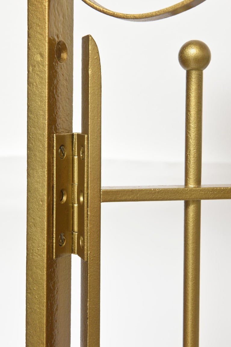 Wrought Iron Antique Brass Finish on Iron Cashier Bank Teller or Post Office Cage Window For Sale