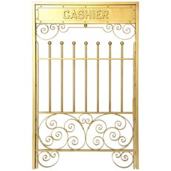 Antique Brass Finish on Iron Cashier Bank Teller or Post Office Cage Window