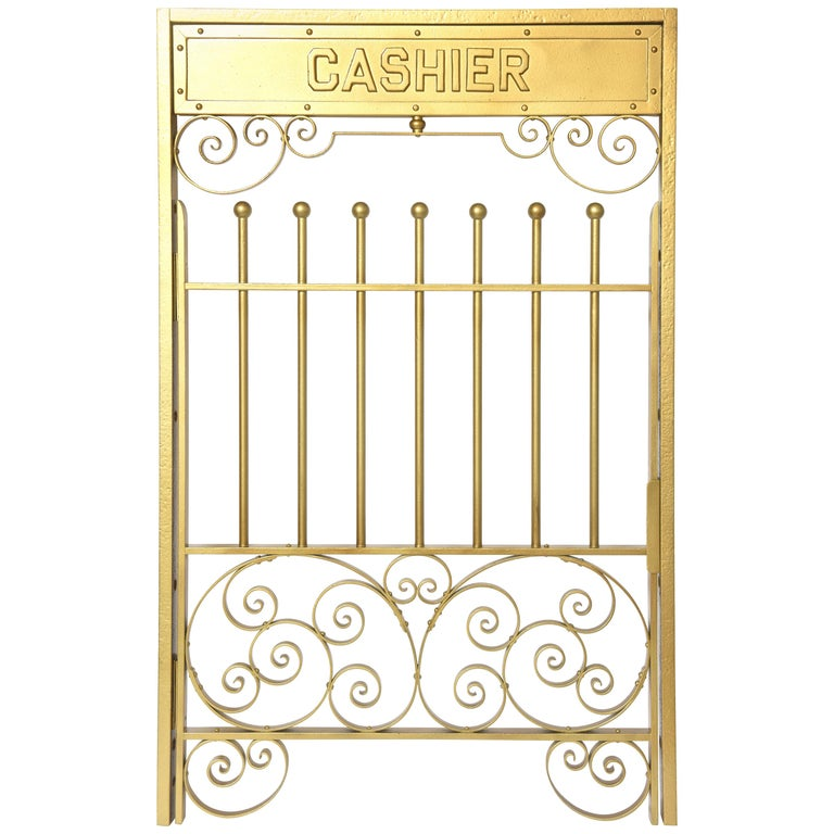 Antique Brass Finish on Iron Cashier Bank Teller or Post Office Cage Window For Sale