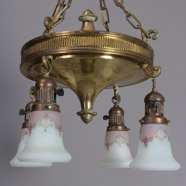 Antique Brass Four-Light Drop Ogee Chandelier with Gilt ...